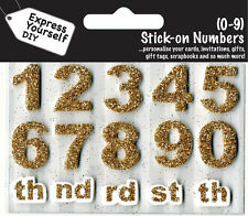 Numbers 0-9 Gold DIY Greeting Card Toppers Personalise Cards Express Yourself