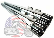 Chrome Swiss Cheese Tip Megaphone Slip On Mufflers Exhaust Pipes Harley Touring