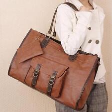 Women Lady Large Leather Handbag Shoulder Shopping Bag Tote Messenger Bag Brown