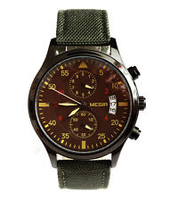 Aviator Pilot's 43mm CHRONOGRAPH Military Army Khaki Vintage Style Quartz Watch