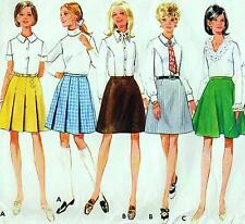 "Vintage 60s Mod SET OF SKIRTS Sewing Pattern Waist 27"" Sz 12 RETRO A-line FLARED"