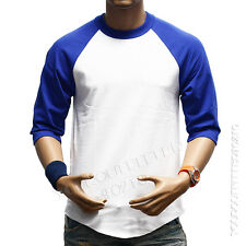 3/4 Sleeve  Plain T-Shirt Lot Baseball Tee Raglan Jersey Sports Men's Tee S-3XL