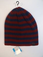 Penguin Reversible Burgundy & Blue Knit Beanie Skull Cap Mens One Size NWT
