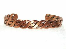 "VINTAGE BRACELET COPPER SOLID CUFF SOUTHWESTERN BRAIDED 5/16"" X 5.50"" ADJUSTABLE"
