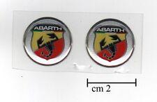 2 ADESIVI STICKERS LOGHI BAGDE 3D ABARTH FIAT 500 GRANDE PUNTO EVO UNO 20mm