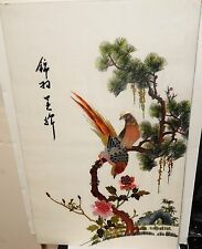 JAPANESE SILK BIRD ON BLOSSOM TREE EMBROIDERY TAPESTRY PAINTING