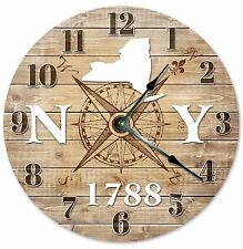 NEW YORK Established in 1788 COMPASS CLOCK Large 10.5 inch Wall Clock