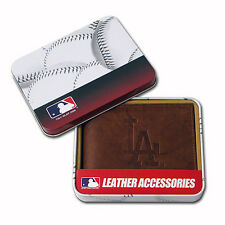 Los Angeles Dodgers Embossed Trifold Genuine Leather Wallet + FREE Gift Tin MLB