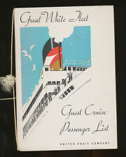 1934 TES Veragua Passenger List - United Fruit Company / Great White Fleet