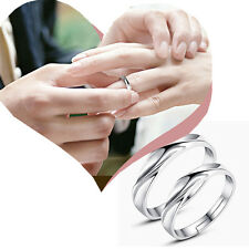 Mens Women Solid Silver Lover Couple Rings Wedding Band His and Her Promise Ring