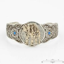 Antique Vintage Sterling Silver 1/10th 14k Gold GIST Elephant Sapphire Bracelet