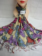 BUTTERFLY PATTERN ALL SEASON LIGHT WEIGHT SCARF WRAP COLOR YELLOW