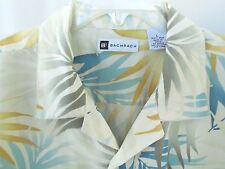 100% Luxury Silk Hawaiian Camp Shirt Ivory Blue Short Sleeve Sz L  Bachrach