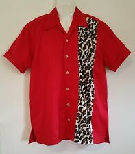 Rockabilly Mens Red Leopard Garage Shirt Hot Rod Bowling emporium44.com   Size M