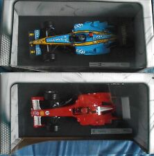 LOT 2 F1 Ferrari F2005 Schumacher / Renault F1 Team R25 Alonso 1/18 HOTWHEELS