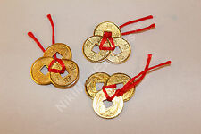 3x3 Ribbon Tied Chinese Ancient Golden Brass Coins Lucky Feng Shui Protection