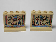 LEGO Set of 2 Panels 1 x 4 x 3 with Egyptian Patterns 1 and 2 Tan 1998 6-10