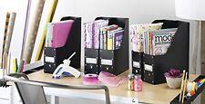 Plastic Organizer Magazine Set 5 Black Office Home Storage Case Holder Rack Fit