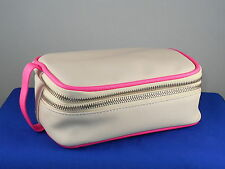 Bare Minerals Blush Coated Canvas Double Zip End Handle Cosmetic Makeup Bag