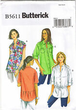 Easy Button Up Down Collared Shirt Top Butterick Sewing Pattern Size 20 22 24 26