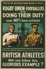 WW1 RECRUITING BRITISH ARMY POSTER RUGBY UNION PLAYERS ATHLETES NEW A4 PRINT