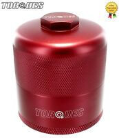 """Torques Billet Aluminium Inspection Re-Usable Oil Filter In Red 3/4"""" UNF"""