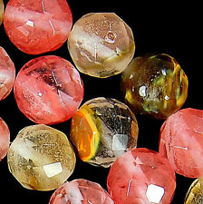 8mm Faceted Volcano Cherry Quartz Round Beads 15.5""