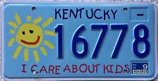FREE UK POSTAGE Kentucky I Care About Kids Speciality License Number Plate 16778