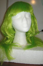 NEW Neon Green Straight Long Hair WIG w/ Bangs, Cos Play, Halloween Fairy Zombie