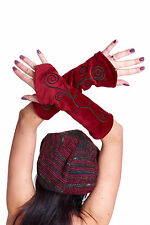 Velvet Pixie Arm Warmers, psy trance clothing, festival gauntlets, hippy gloves