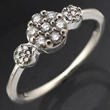 Triple Floral Cluster 21 Diamond Eternity 10k White GOLD RING solid estate Sz L
