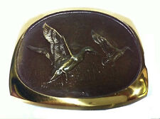 Vtg Solid Flying Bronze Duck Belt Buckle Bird Hunting Shooting Hunter Western