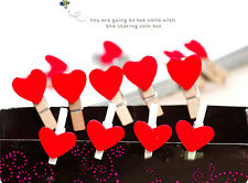 10Pc  Mini Heart shaped Clip Pegs Kids Crafts Party Favor Supply Home Decoration