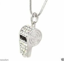 Whistle W Swarovski Crystal Trainer Referee AB Pendant Necklace Jewelry Gift