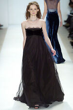 PETER SOM Fall Runway Maxi Black Bustier Lace Gown Evening Dress Long 2 XS
