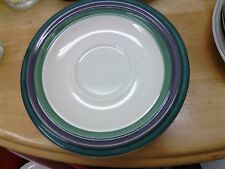 Pfaltzgraff *Mountain Shadow* Set of 5 Saucers Purple~ Teal~ Green Bands