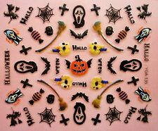 Halloween Nail Art Stickers Decals Black Spiders Webs Spider Web Pumpkin (135)