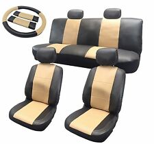 Premium Synth Leather Seat Cover Full Set Black and Tan Leatherette