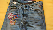 NWT REPLAY WAITOM Men's Jeans Blue Denim Vintage Style Mod:M983P Size W29 L34
