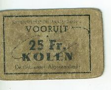 Vintage WWII Dutch Occupied Rationing Coupon for Coal