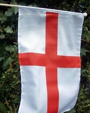"""ST GEORGE ENGLAND LARGE HAND WAVING FLAG 18"""" X 12"""" WITH 24"""" POLE flags ENGLISH"""