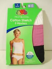 NIP FRUIT OF THE LOOM 8 XL White Pink Black Hipster Underwear Panties
