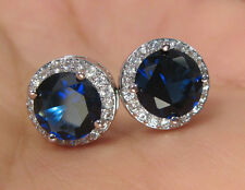 18K WHITE GOLD PLATED BRILLIANT CUT CRYSTAL BLUE CZ STUD EARRINGS B11
