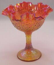 Fenton Art Glass: Amberina-Orange Carnival Glass- Persian Medallion Compote