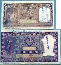 KHADI HUNDI 2 &5 rupees  (GANDHI THEME) RARE Listed in South Asian Cat#N43B