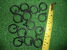 12 x MAT BLACK METAL CURTAIN POLE RINGS FIT UP TO 21mm POLE