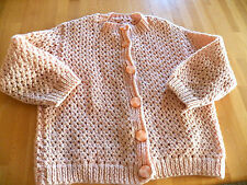 Vintage1960's Hand Knit Child's Peach Sweater Great cond. Needs a soak