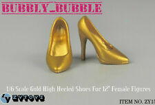 1/6 Female High Heeled Gold Shoes For Phicen Hot Toys Figures SHIP FROM USA