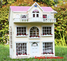 Wooden Dolls house Miniatures DIY Kits Dollhouse with LED Light+Music Box+Doll