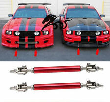 2PCs  Adjustable Stainless Steel Car Front Bumper Splitter Tie Bar Supports Red